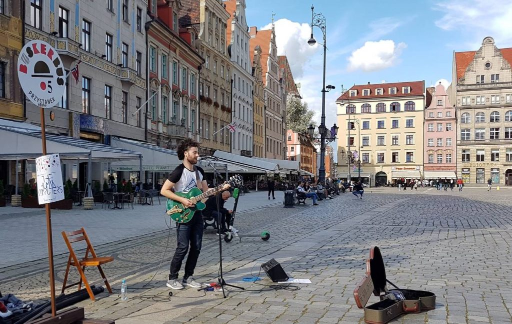 The Human Computers busking in Wrocław at BuskerBus 2020