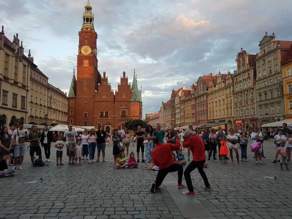Busking in the street in Wrocław Main Square