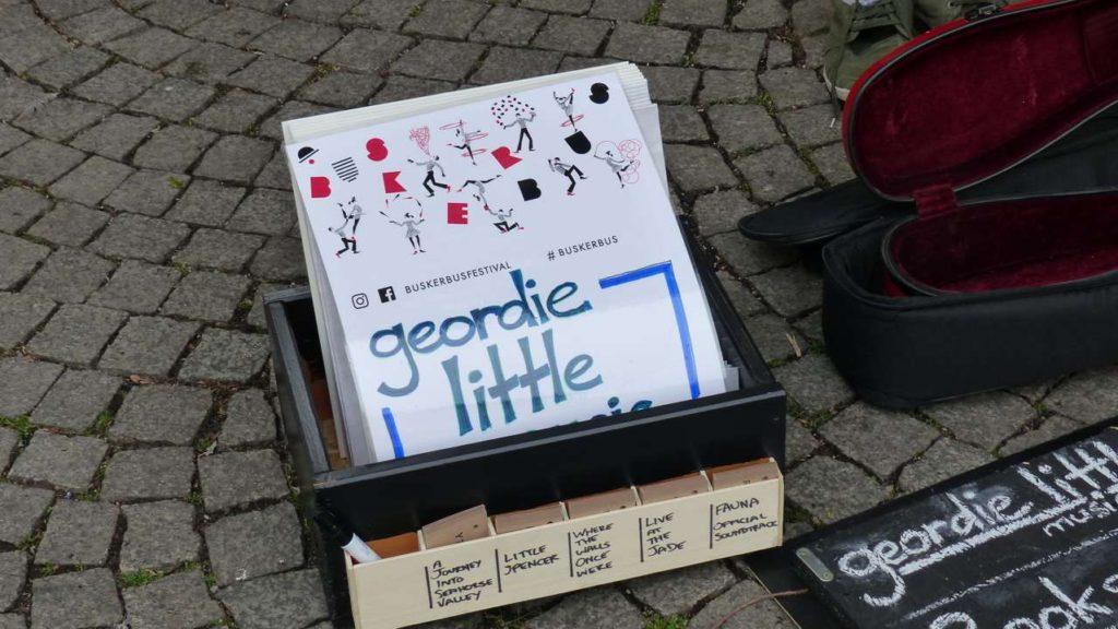 A board of Geordie Little from BuskerBus 2020